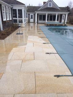 Giallo stone pool patio surround Nantucket