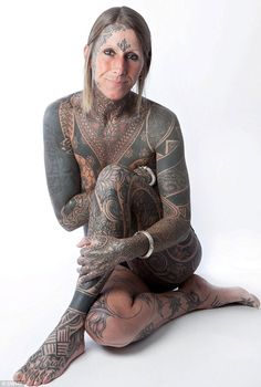 Say it with ink: Woman celebrates divorce by asking new partner to tattoo her ENTIRE body Full Body Tattoo, Body Art Tattoos, Girl Tattoos, Sleeve Tattoos, Maori Tattoos, Tattoo Art, Tatoos, Woman Tattoos, Tattoed Girls