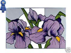 20x14 Stained Art Glass Purple IRIS Floral Window Suncatcher