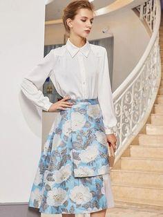 Irregular Turn-Down Collar Long Sleeve A-Line Dress