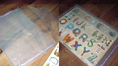 No-Sew Puzzle Storage Bag. Made from vinyl sold by the yard in Wal-Mart fabric… Bag Storage, Storage Ideas, Puzzle Storage, Big Boy Bedrooms, Math Manipulatives, Playroom Storage, Triplets, Hole Punch, Saving Ideas