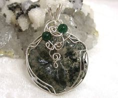 Moss Agate Pendant Solid 930 Sterling Silver Wire by jpatterson312, $60.00
