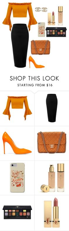 """""""special outfit"""" by fashionwithzoella on Polyvore featuring LE3NO, Casadei, Chanel, Yves Saint Laurent, Anastasia Beverly Hills, YSL, orange and autumn2017"""