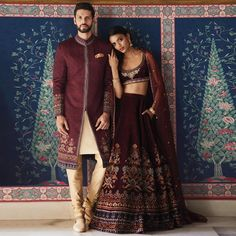 Brown bridal lehenga Anita Dongre <br> Anita Dongre Jaipur Love 2019 collection has a bunch of gorgeous bridal lehengas in reds, and baby pinks.There's also a good range of groomswear & jewellery Couple Wedding Dress, Wedding Dresses Men Indian, Indian Dresses, Indian Outfits, Bridal Dresses, Pakistani Outfits, Wedding Wear, Wedding Suits, Farm Wedding