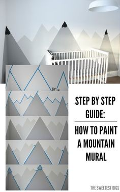 How To Paint A DIY Nursery Mountain Mural (No Art Skills Required) Looking for an amazing kids room or nursery decor idea? DIY this painted mountain range mural – easy and budget friendly! Diy Nursery Decor, Nursery Room, Kids Bedroom, Bedroom Ideas, Nursery Ideas, Budget Nursery, Playroom Wall Decor, Baby Room Wall Decor, Lego Bedroom