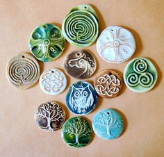 12 Handmade Ceramic Beads  Sweet Selection of Celtic by beadfreaky, $20.00