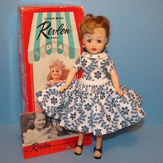 C1959-Ideal-Little-Miss-Revlon-Doll-in-Rare-Torso-Dress-Box-Blonde-Ponytail