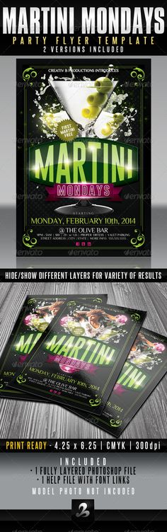 Martini Mondays Party Flyer Template  UPDATED — Photoshop PSD #party flyer #disco ball • Available here → https://graphicriver.net/item/martini-mondays-party-flyer-template-updated/6319601?ref=pxcr