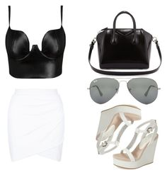 """Black & White"" by idakotajohnson14 ❤ liked on Polyvore featuring Posh Girl, Givenchy, Ray-Ban and Lola Cruz"