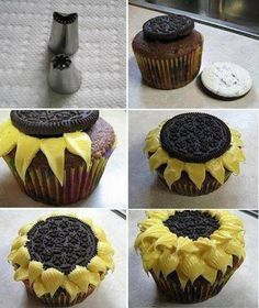 Easy sunflower cupcakes made with an oreo- how clever is this? Nat- we could do this in the bouquet to. although i have some other recipes i want to try :D drunken cupcakes Cupcake Recipes, Cupcake Cakes, Dessert Recipes, Oreo Cupcakes, Oreo Cookies, Cup Cakes, Daisy Cupcakes, Summer Cupcakes, Strawberry Cupcakes