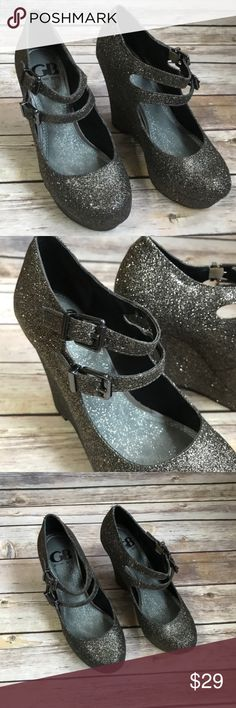 "Gianni Bini - dark champagne glitter wedge heels. Dark champagne glitter 5"" wedge heel  Brand: Gianni Bini Name: my-girl288  Size: 6.5  Brand new never been worn Gianni Bini Shoes Wedges"