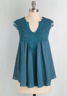 Happiest Gal on Earth Top in Lake. Achieve bohemian-style bliss in this distinct and breezy blue top. #blue #modcloth