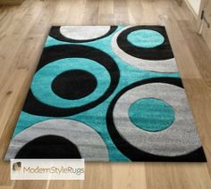 Black And Teal Blue Swirls With Grey   Funky Modern Designer Luxury Home Rug    Available