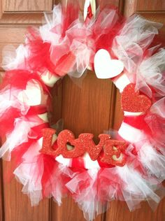Valentines Day Tulle wreath #diy #wreath - Could use the same wreath for Christmas by changing the embellishments.