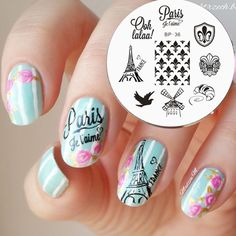 1PC France Theme Nail Stamping Plates Nails Template Image Plate BP36#18779