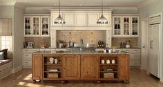 Sullivan Glazed Cabinets in Antique White, Maple with Duncan, Harvest, Rustic Alder Chocolate Glaze Island