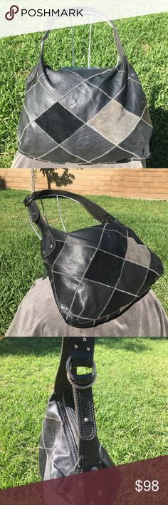 """❤️Lucky Brand 100% Genuine Leather Patchwork Purse Lucky Brand 100% Genuine Leather & Suede Patchwork Purse, Vintage Inspired, Black & Gray in Color, Retro, Hippie, Hobo with Snap Closure. Neat hippie style with silver-tone accents. It is in nice condition and was used rarely if at all. The lining is 100% Cotton.  The approximate dimensions are 13""""(strap drop), 6"""" (depth), 16"""" (length) and 14"""" (height) . It has a Lucky brand logo & tag and is marked genuine leather. Snap closure with a…"""