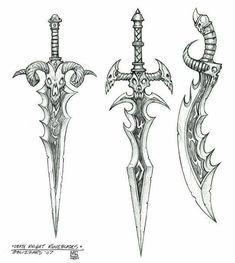 Best Weapon Concept Art World Of Warcraft Ideas – Art Drawing Tips Cool Art Drawings, Pencil Art Drawings, Art Drawings Sketches, Sword Drawings, Anime Weapons, Fantasy Weapons, Rosen Tattoo Mann, Sword Tattoo, Cool Swords