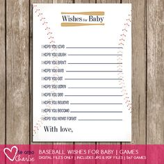 Baseball Wishes for Baby Sports Baby Shower Theme