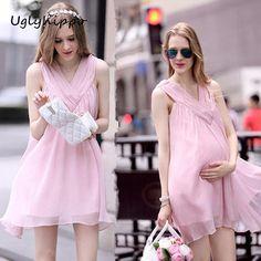 b0bd599de New Arrival 2017 Summer Maternity Mini Dress Ultra Thin Chiffon Clothes For Pregnant  Women MO42 #