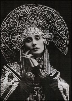 Anna Pavlova in Russian Dance, costume by Mikhail Mordkin (1910)