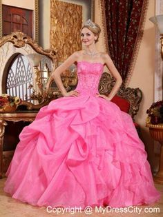 Organza Rose Pink Puffy Layers Dress for Quincenaera Party - MyDressCity.com