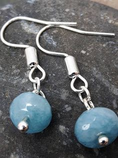 Drop Earrings. Lovely Pale Blue Stone.