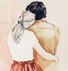 Hali on paras lääke moneen kipuun - Mielen Ihmeet Cute Couple Drawings, Cute Couple Art, Art And Illustration, Watercolor Sketch, Watercolor Paintings, Art Drawings Sketches, Sketch Art, Drawing Wallpaper, Cartoon Art
