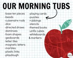 "Build play and exploration into your day with Morning Tubs! I love this paperless morning ""work"" alternative is a perfect way to build social skills and get students excited about the day! First Grade Classroom, 1st Grade Math, Kindergarten Classroom, Grade 1, Classroom Ideas, Future Classroom, Classroom Activities, Second Grade, Kindergarten Routines"