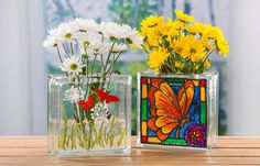 Butterfly painted stained glass block vase