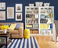 Stuff a Bookshelf with decorative containers, magazine holders and boxes. Great storage ideas for your living room!