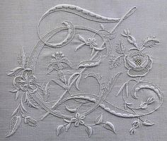 embroidered initial Z, From an old, long out-of-print Italian book on beautiful monogram embroidery. Embroidery Monogram, White Embroidery, Embroidery Stitches, Embroidery Patterns, Hand Embroidery, Machine Embroidery, Vintage Monogram, Linens And Lace, Heirloom Sewing
