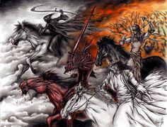 The Four Horsemen of the Apocalypse, described in the Book of Revelation of the… Four Horsemen Of The Apocalypse Tattoo, Revelation Tattoo, Apocalypse Art, Pale Horse, Angel Of Death, The Grim, Grim Reaper, Horror Art, Dark Fantasy