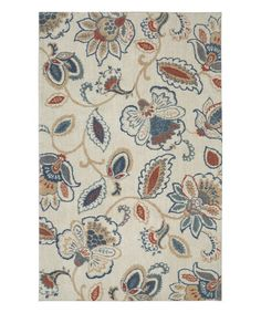High Quality Beige Harlow Floral Woven Rug