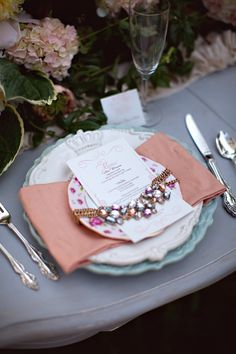 Vintage necklaces as napkin rings + menu holders // photo and styling by TonyaJoy.com
