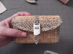 Grass woven wallet with fish skin strap  ivory buckle, Coral Chernoff (Alutiiq) https://www.facebook.com/pages/Alutiiq-Basket-Weaving/203806149659583