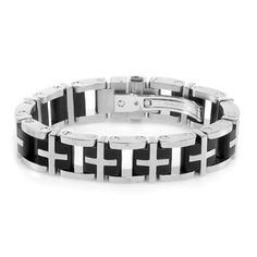 Liquidation Channel | Simmon's Diamond Accent Men's Bracelet in Stainless Steel