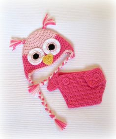 Crochet Baby Owl Hat and Diaper Cover Set by littlebuttercupbaby, $32.00