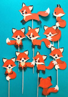 Fox cupcake toppers fox toppers fox theme party fox