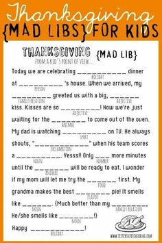 Thanksgiving Ad Libs