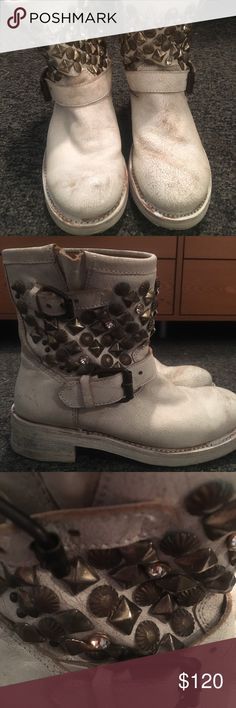 ASH titanic boots ASH white  titanic boots worn a few times, beautiful and in amazing condition! ( they're supposed to have the rustic look)! So cute just don't go with my wardrobe Ash Shoes Combat & Moto Boots
