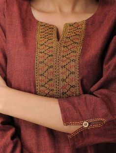Rust Mangalgiri Cotton Kurta with Kantha Work Salwar Neck Designs, Churidar Designs, Kurta Neck Design, Neck Designs For Suits, Sleeves Designs For Dresses, Kurta Designs Women, Dress Neck Designs, Sleeve Designs, Blouse Designs