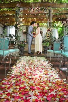 I adore almost everything about this!  They've created a garden-like atmosphere, with sunlight filtering in from above.  The vintage chairs add color, and the rose petals down the aisle are extremely romantic.  <3  I definitely approve!