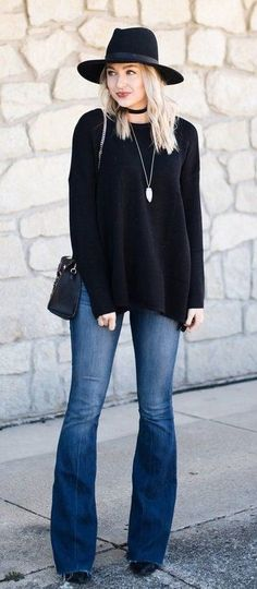 summer outfits Black Hat + Black Knit + Elephant Jeans
