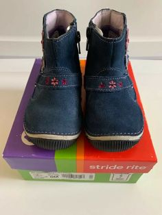9b9b5ab010 Baby Girl Stride Rite Merriweather Boots Shoes 8M Navy Blue   PPL  fashion   clothing
