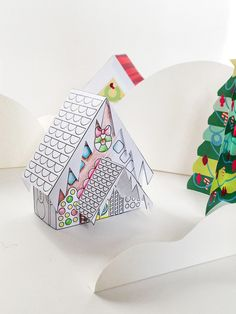 Free Printable coloring page - build your own gingerbread house paper toy… Christmas Arts And Crafts, Noel Christmas, Christmas Activities, Christmas Printables, Christmas Colors, Winter Christmas, Holiday Crafts, Holiday Fun, Free Printable Coloring Pages