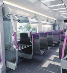 Hitachi: Cross Platform Interior ConceptsA range of three concept interiors including regional, metro and intercity modules for the UK. With consideration to interior layout, human f… Airplane Interior, Bus Interior, Interior Design, Architecture Design, Futuristic Architecture, Futuristic Cars, Interior Concept, Transportation Design, Mobile Design