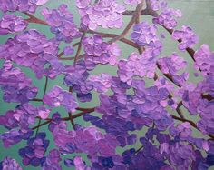 flowering tree painting, acrylic abstract floral, 11X14 knife painting, purple, green, original, canvas via Etsy