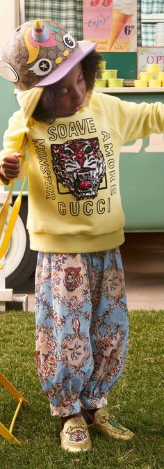 GUCCI Girls Yellow Soave Amore Monster Sweatshirt, Blue Floral Tiger Print Pants for Spring Summer 2018. Super Cute Gold Tiger Shoes & Unicorn GUCCI logo hat.