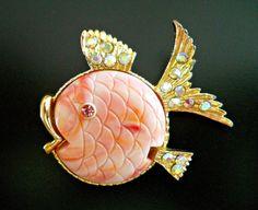 Pink Puffer Fish Brooch Pin BOOK PIECE Lucite by RenaissanceFair